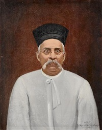 portrait of a parsi gentleman (+ the sitter's hat) by eruchtshaw pestonji