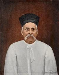 portrait of a parsi gentleman (+ the sitter's hat) by eruchtshaw pestonji