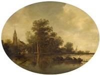 pêcheurs sur la rivière by frans de hulst