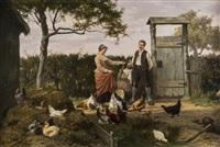 chickens feeding in a farmyard by eugene rémy maes & jan david col
