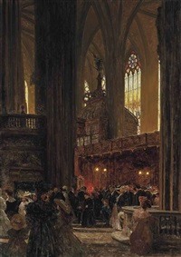 at the end of a sunday service, st. stephen's cathedral, vienna by heinrich tomec