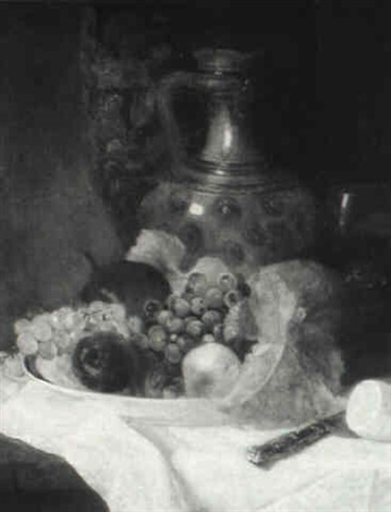 still life with plate of fruit pitcher and goblet by karl albrecht