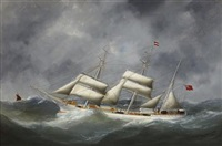 the s.s. inngreen in heavy seas by édouard adam