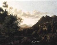 cascade dans un paysage italianisant by arien ocker