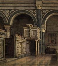 interno di chiesa con figura by emanuel stöckler