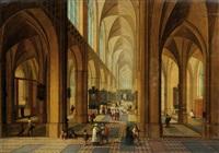 intérieur d'église animé de personnages by peeter neeffs the elder