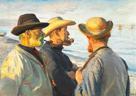 three fishermen at sunset, skagen by michael peter ancher