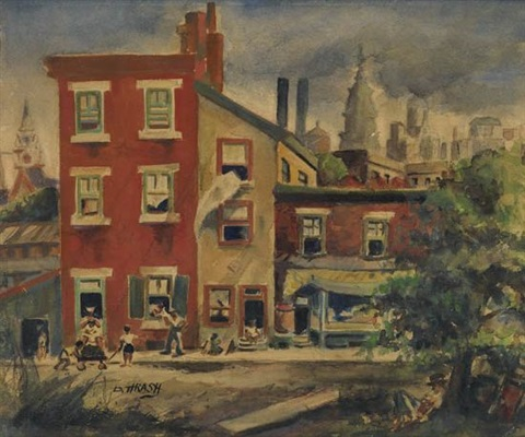untitled street scene with view of city hallview of center city double sided by dox thrash