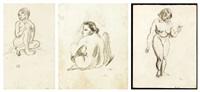 etudes de nus feminins (3 works) by jules pascin