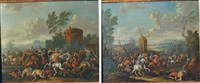 escarmouche d'un cavalier devant un moulin (+ l'attaque d'un convoi; 2 works) by jan-peter van bredael the younger