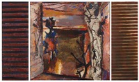 evening landscape with trees (triptych) by anthony whishaw