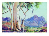ghost gums and blue ranges by albert namatjira