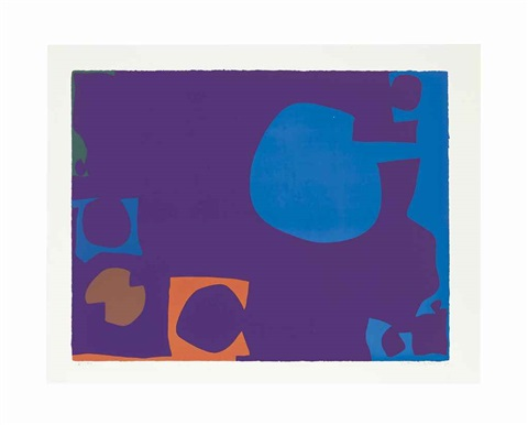 blue and deep violet with orange brown and green by patrick heron