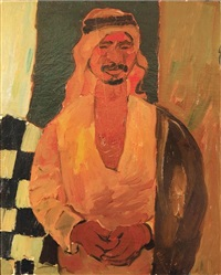 portrait of arab man in kaffiyah by pinchas litvinovsky