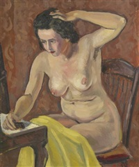 femme nue à sa toilette by andré favory