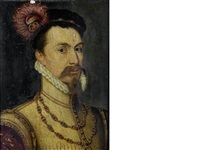 portrait of robert dudley, earl of leicester, bust-length, in a black plumed hat with the order of st. george and the order of the garter by steven van der meulen
