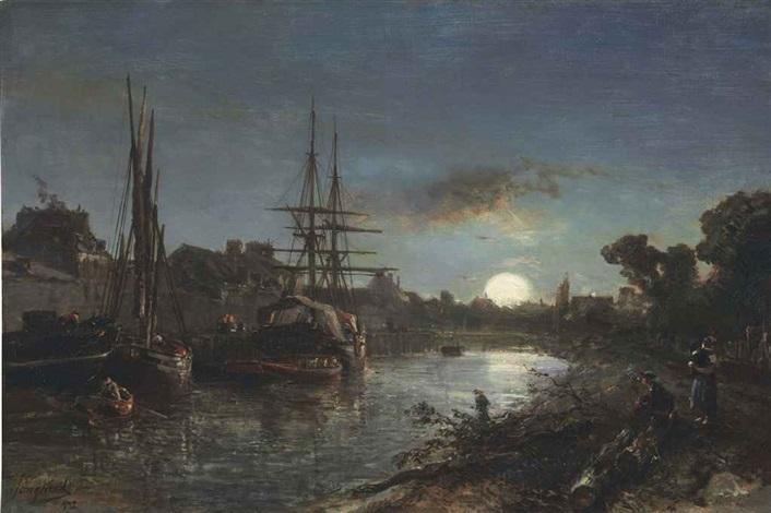 claire de lune aux environs de paris by johan barthold jongkind