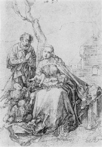 the holy family with angels by a tree by hans (suess von) kulmbach