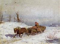 winterliche landschaft mit figürlicher staffage by vasili fedorovich (george wilhelm) timm
