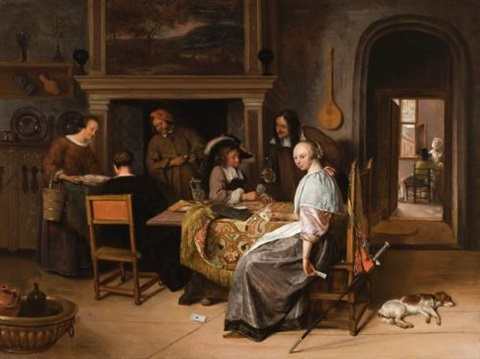 an elegant company in an interior with figures playing cards at a table by jan steen