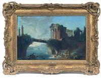 ruines antiques près d'un pont, en contrebas des lavandières by hubert robert