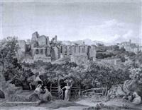 römische landschaft mit ruinen und früchteleser im vordergrund by heinrich gärtner