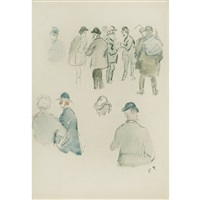study of street figures by camille pissarro