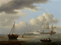a british frigate in stays off teignmouth by thomas luny