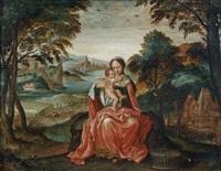 vierge à l'enfant dans un paysage de rivière by lucas gassel
