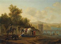 an extensive italianate river landscape with travelers resting on a path by gerrit adriaensz berckheyde