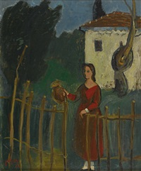 young woman in the orchard by nachum gutman