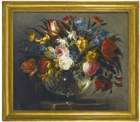 still life with white zinnia, lavender, pink and red peonies, gladiolus, tulips and rosebuds in a glass vase and still life with roses, tiger tulips, white and blue aquilegia, peonies, and delphiniums in a glass vase (pair) by juan de arellano