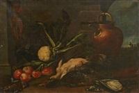 köksstilleben med frukter, grönsaker och fåglar by cristoforo munari