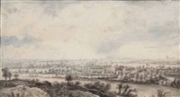 a panoramic river landscape with pollard willows by lucas van uden