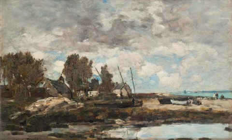 rivage à plougastel, marée basse by eugène boudin