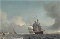 dutch men-o'war running inshore in a strengthening breeze off the low countries by warner gyselman