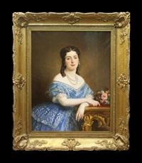 jeune femme en toilette bleu clair by franz xaver winterhalter