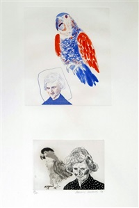 etching and aquatint mother with bird by david hockney