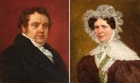 portrait de monsieur joseph albert libert (+ portrait de angelica vander straeten; 2 works) by charles picque