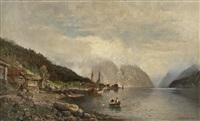 fjordlandskap med folkeliv by anders monsen askevold