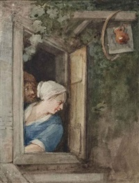 a man and a woman at the window of a tavern, after jan steen by aert schouman