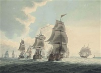 a squadron of the royal navy running down the channel (+ an east indiaman preparing to sail; pair) by samuel atkins