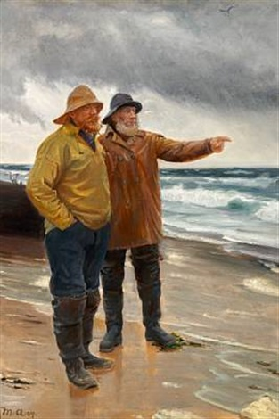 two fishermen on the beach, one is pointing towards the sea by michael peter ancher
