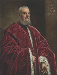 portrait of giovanni paolo contarini, three-quarter length, in a red ermine-lined robe by domenico tintoretto