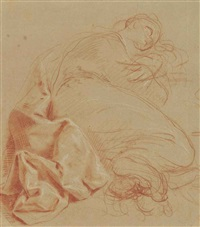 a reclining female nude (recto); the penitent magdalen praying before a vision of the cross (verso) by antonio consetti