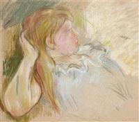 jeune fille étendue by berthe morisot