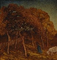 female farmer with a goat by cornelis albert van assendelft
