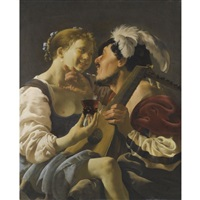 a luteplayer carousing with a young woman holding a roemer by hendrick terbrugghen