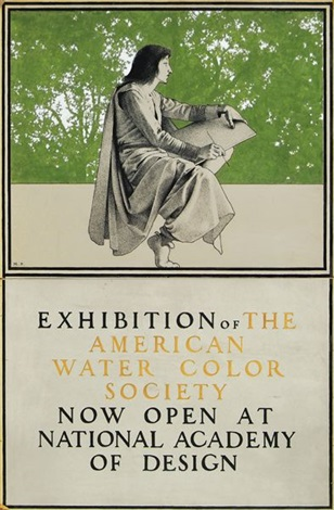 seated artist (exhibition of the american water color society) (illus. for poster) by maxfield parrish