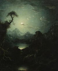moonlit mountainscape with temple ruin by anonymous (18)